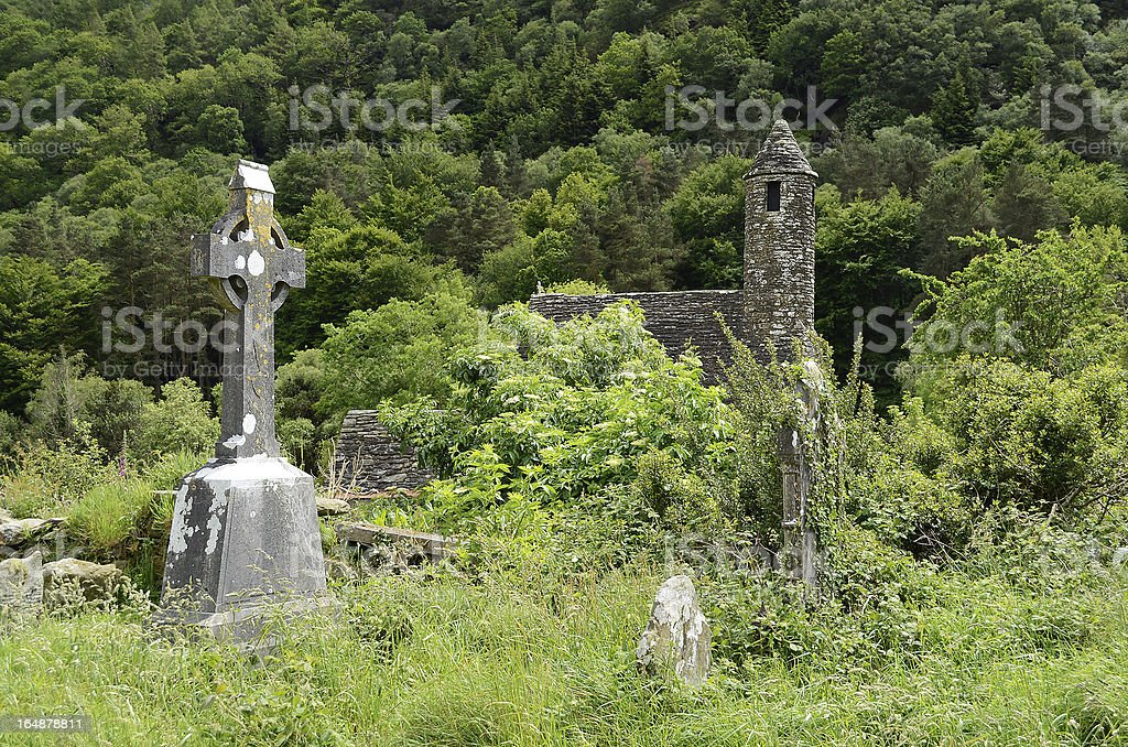 Celtic cross at a graveyard royalty-free stock photo