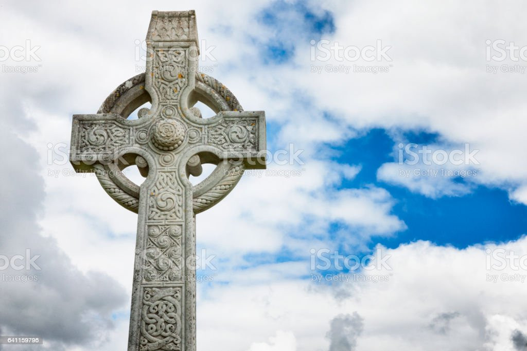 Celtic Cross at Ballintubber Abbey in County Mayo, Ireland. stock photo