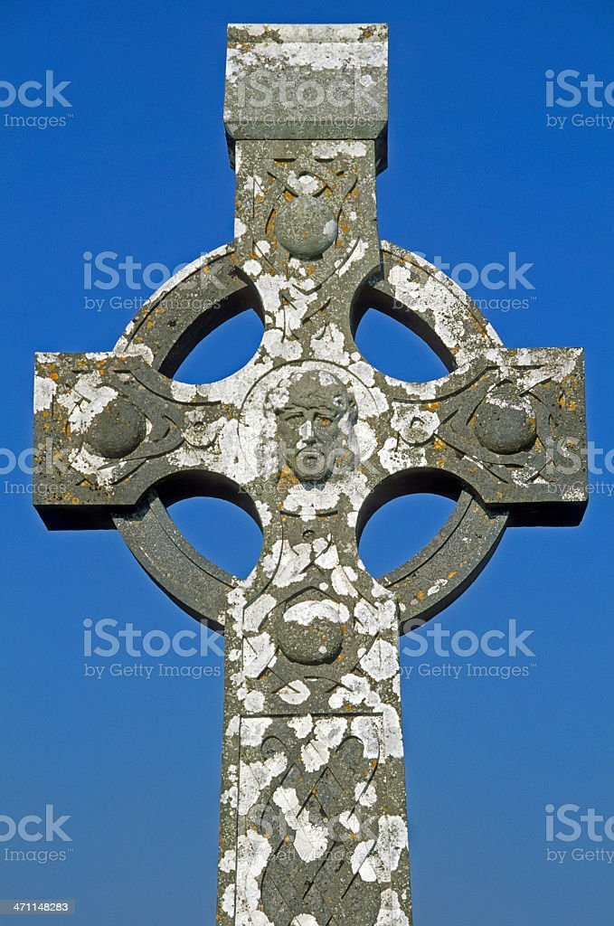 Celtic cross at cemetery in Ireland royalty-free stock photo