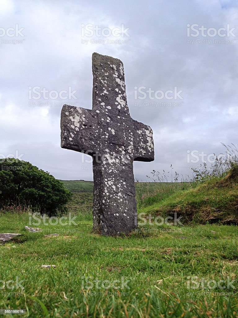 Celtic cross at Kilmalkedar Church near Dingle, Co. Kerry, Ireland stock photo