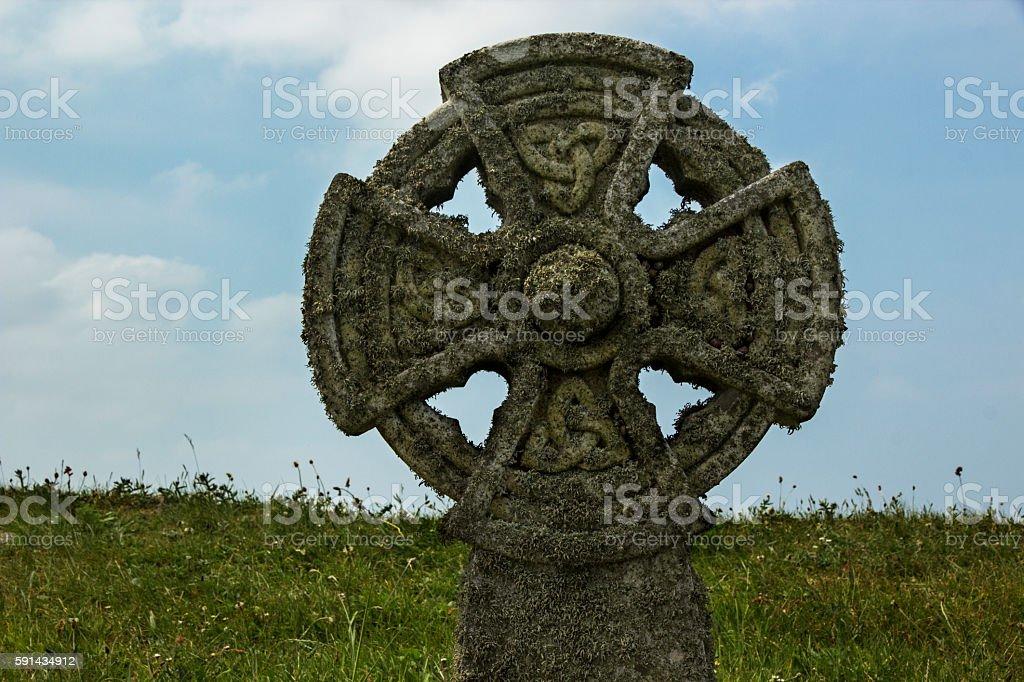 Celtic Cross at Tintagel, Cornwall stock photo
