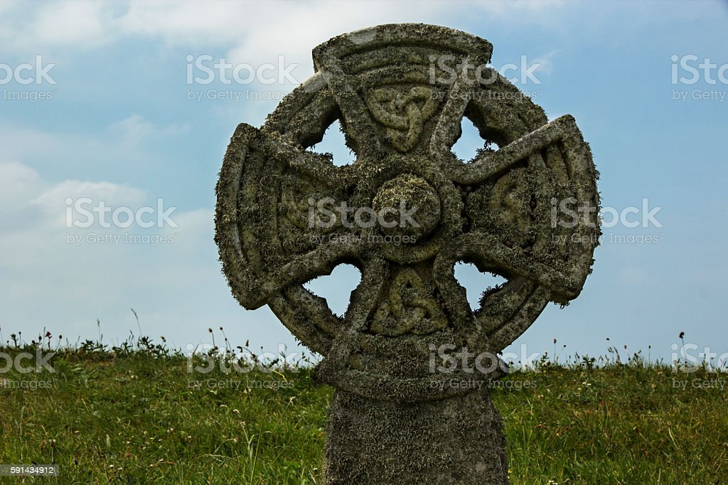 Celtic Cross at Tintagel, Cornwall stock photo