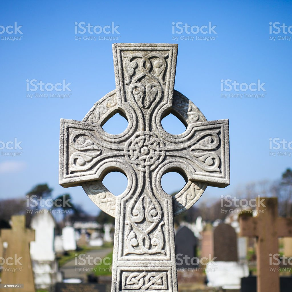 Celtic Cross Gravestone stock photo