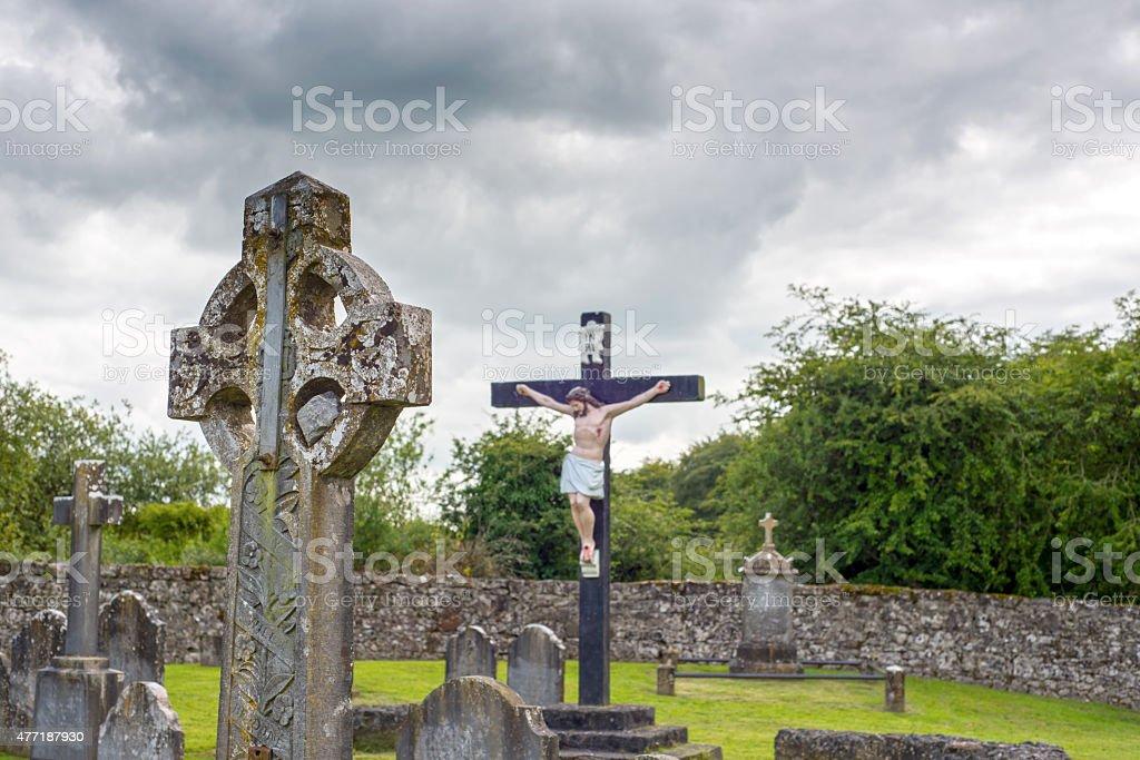 celtic cross headstone and crucifix stock photo