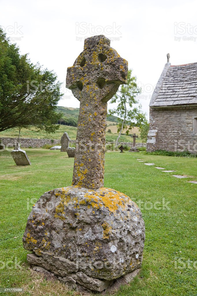 Celtic cross in an English Graveyard royalty-free stock photo