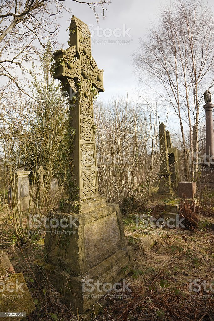 Celtic Cross In An Urban Graveyard stock photo