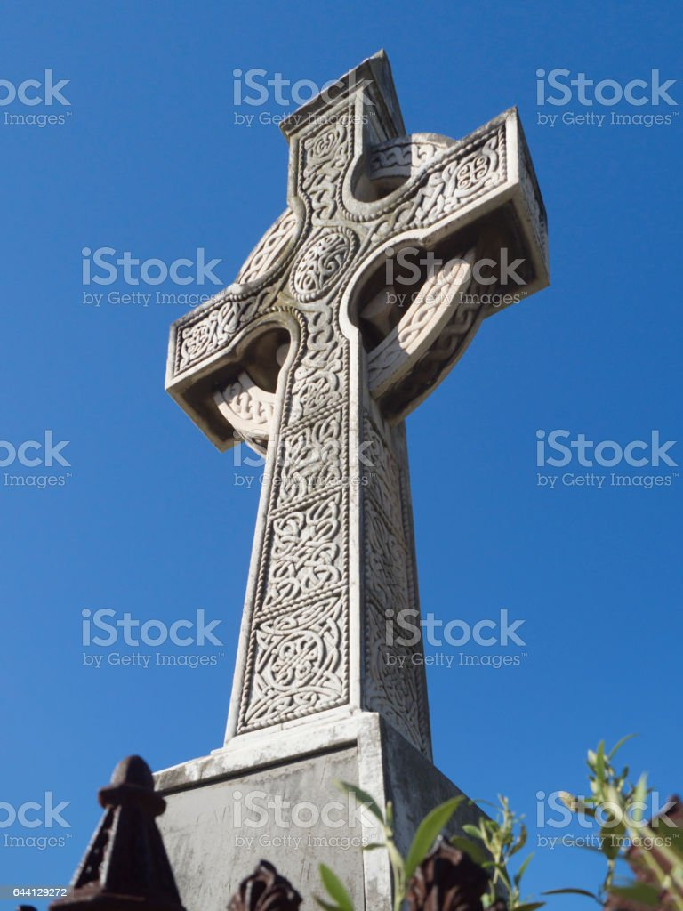 Celtic Cross in Brighton Cemetery stock photo