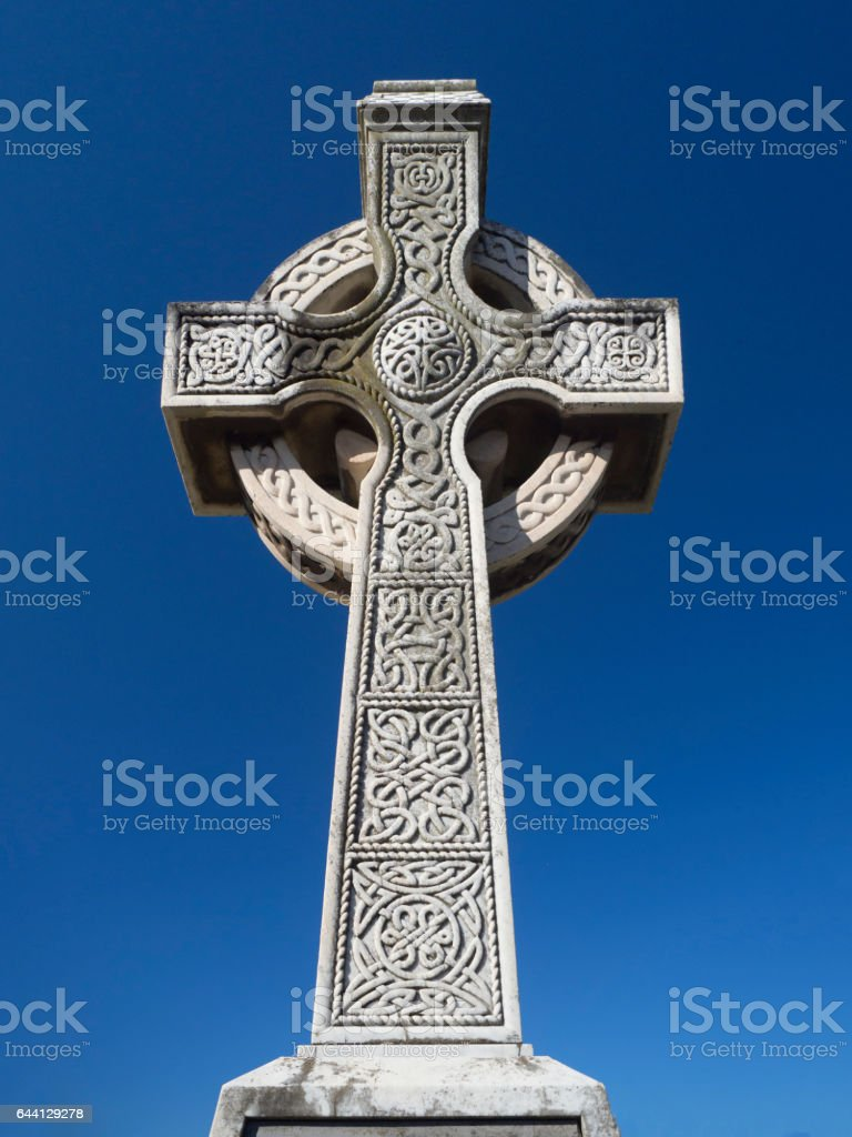 Celtic Cross in Brighton Cemetery stock photo