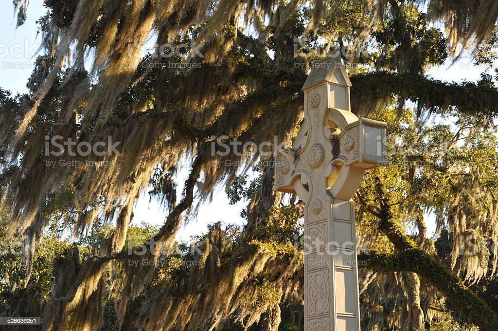 Celtic cross in cemetery stock photo