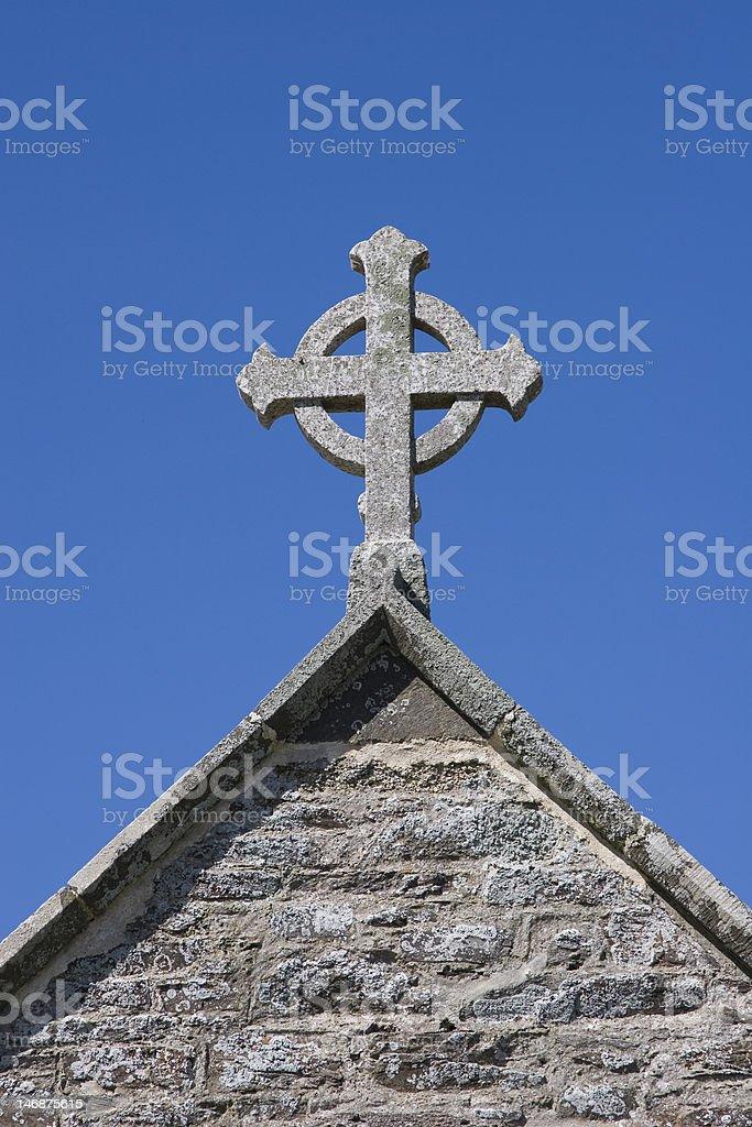 Celtic Cross on Cornish Church royalty-free stock photo