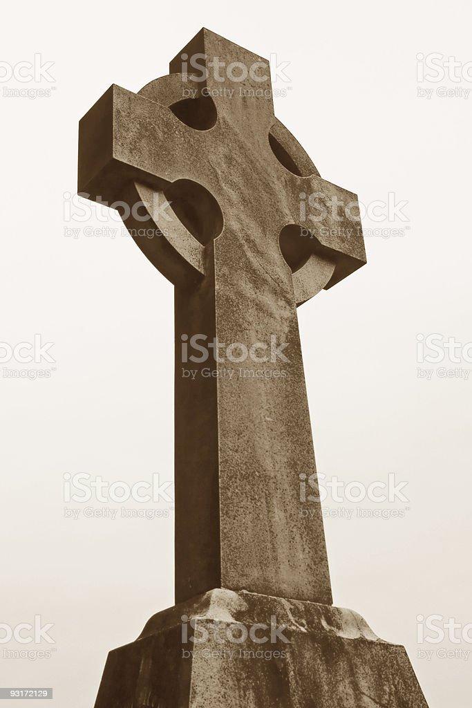 Celtic Cross - Sepia royalty-free stock photo