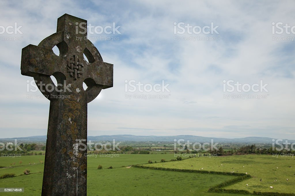 celtic cross tombstone stock photo