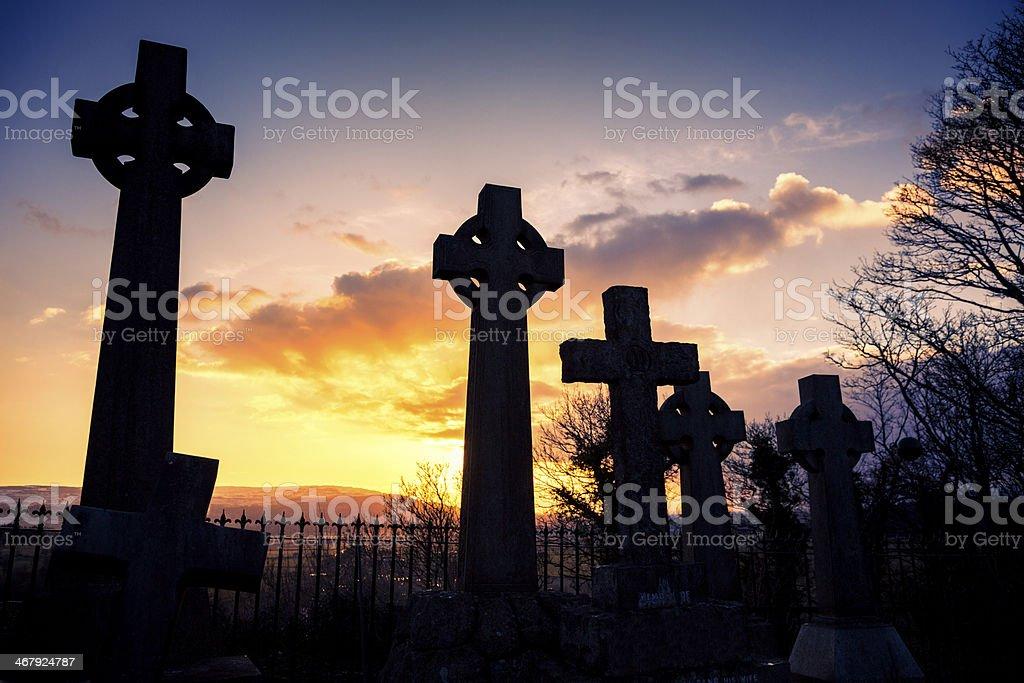 Celtic Crosses In An Urban Graveyard stock photo