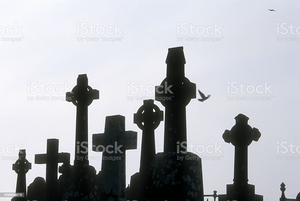 Celtic crosses, Ireland stock photo