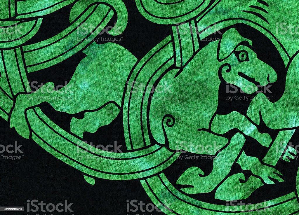 Celtic Dog Motif Textile Detail stock photo