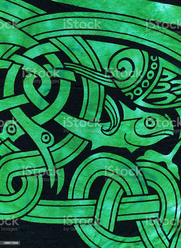 Celtic Fish Motif Textile stock photo