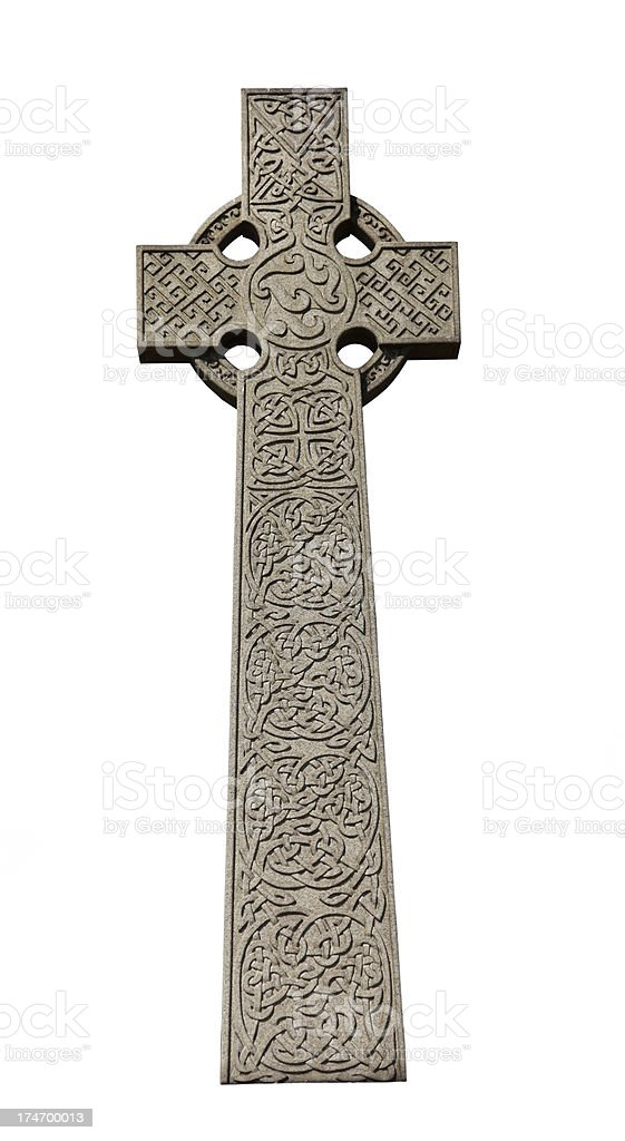 Celtic High Cross with knotwork stock photo