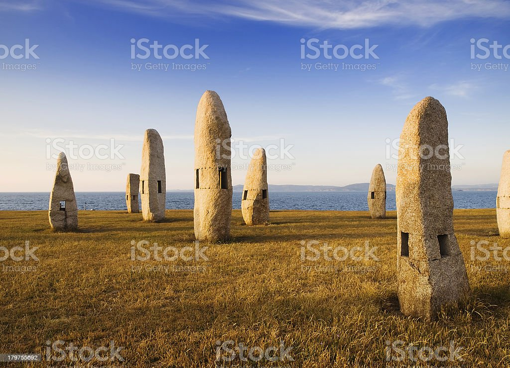 Celtic monuments in A Coruna, Galicia, Spain royalty-free stock photo