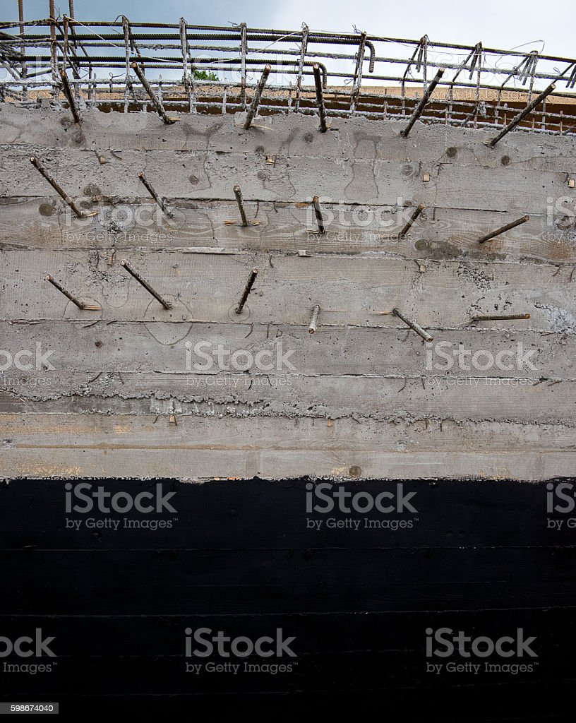 cement and iron bars stock photo