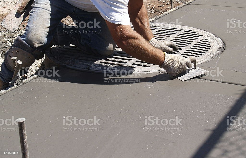Cement and Sewer - Sidewalk Construction stock photo