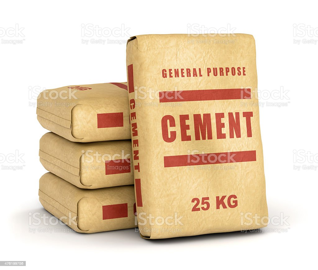 Cement bags pile stock photo
