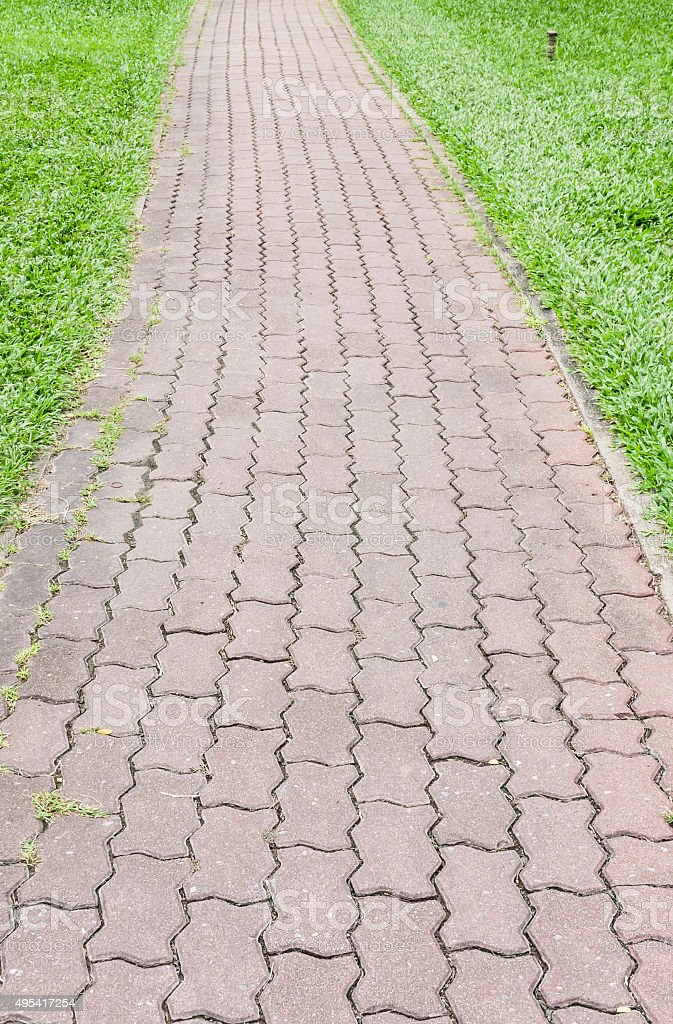 Zement Ziegelsteine Fußweg mit grünen Gräsern auf beiden Seiten Lizenzfreies stock-foto