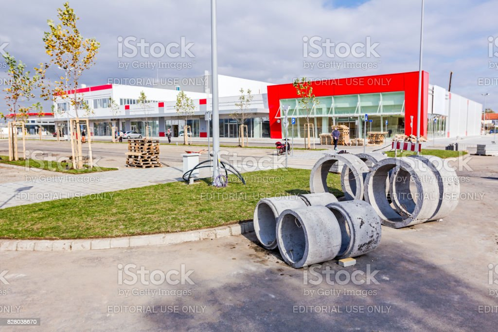 Cement concrete prefabricated drainage pipes stock photo