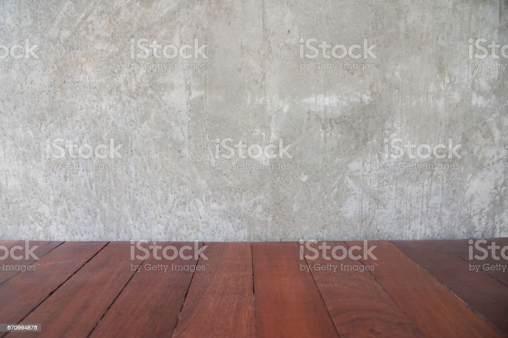 Cement concrete wall background for copy space and old brown wood retro floor pattern stock photo