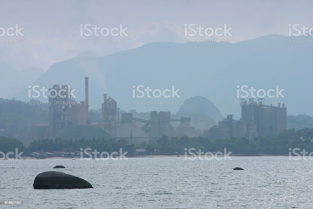 Cement Factory By The Coast royalty-free stock photo