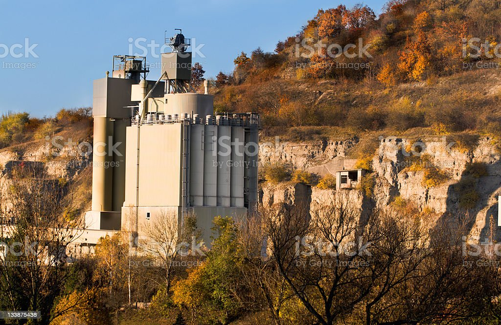 Cement factory in Autumn; Germany stock photo