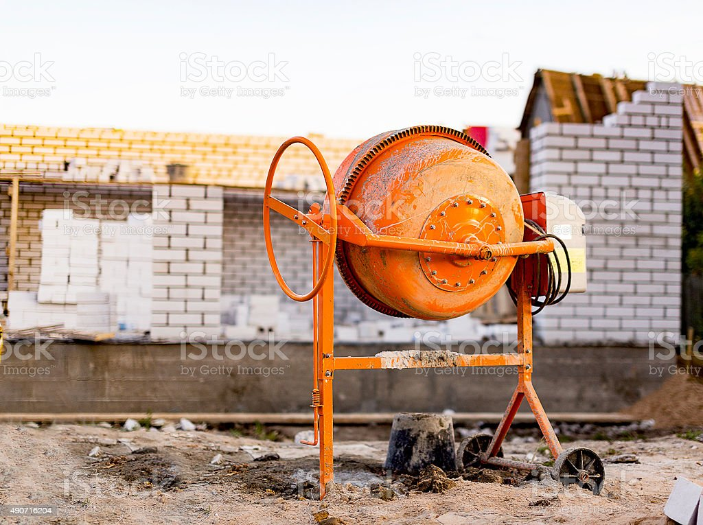 cement mixer at a construction site stock photo
