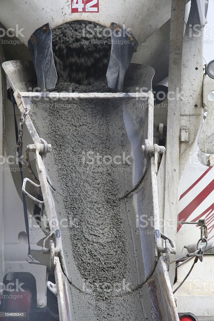 Cement Mixer in action stock photo