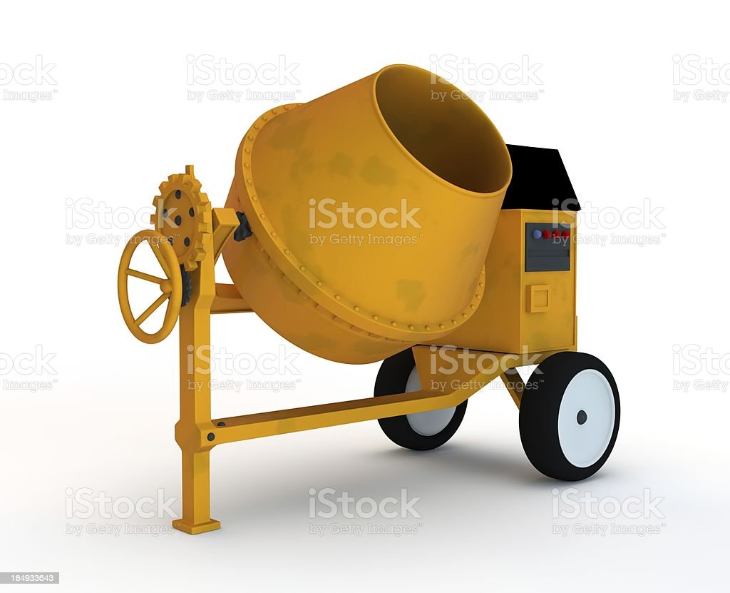 Cement mixer isolated on white background stock photo