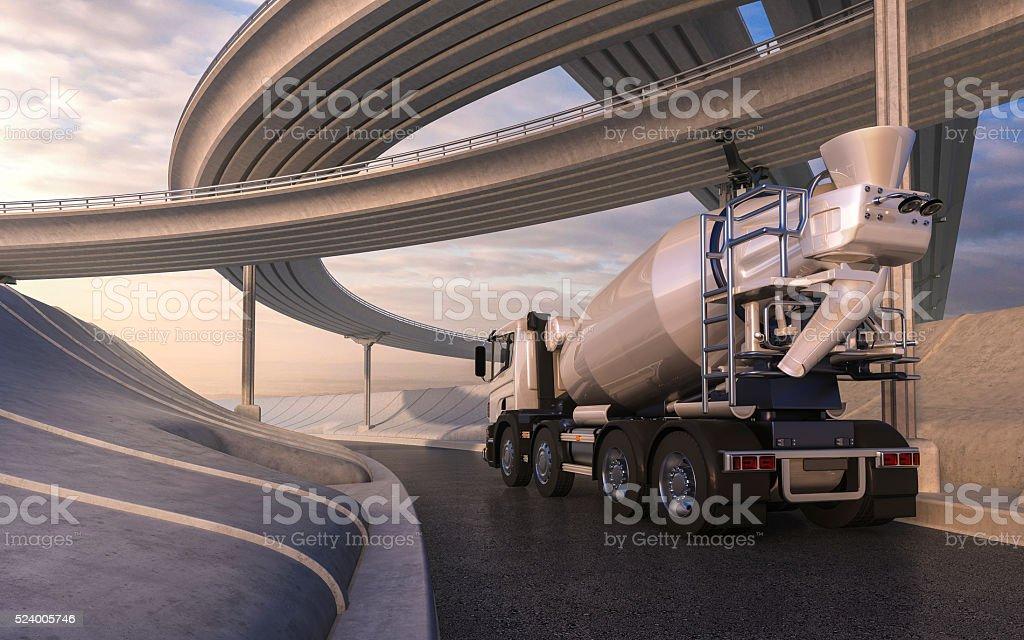 Cement mixer trucks on highway stock photo