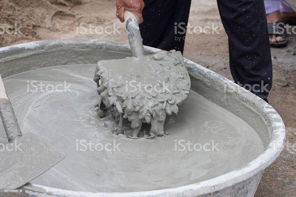 cement mixing stock photo