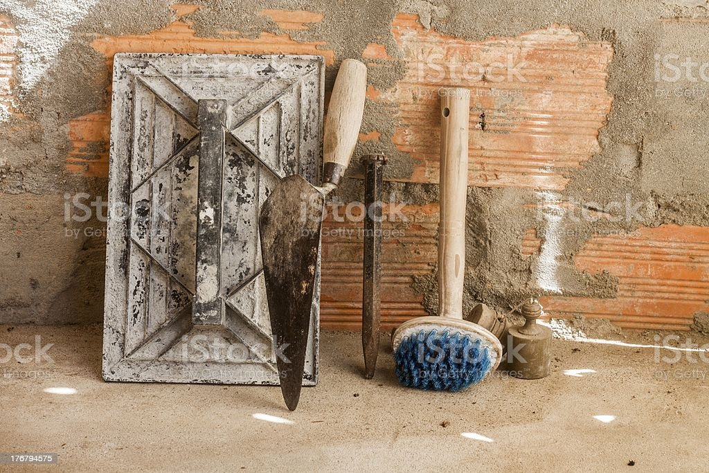 cement mortar tools royalty-free stock photo