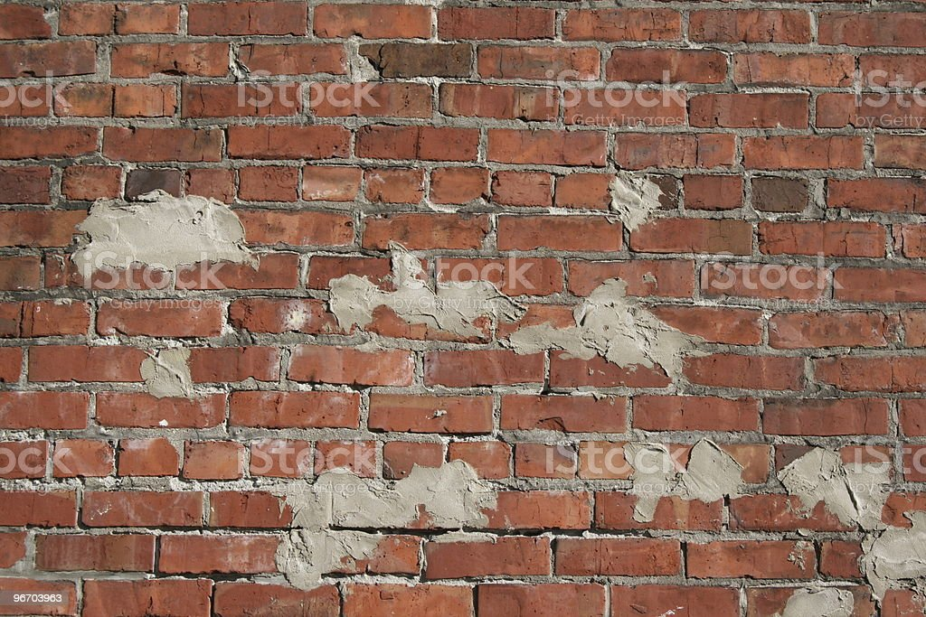 cement on brick wall royalty-free stock photo