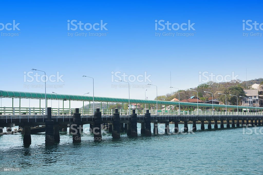cement pier in Si Chang Island stock photo