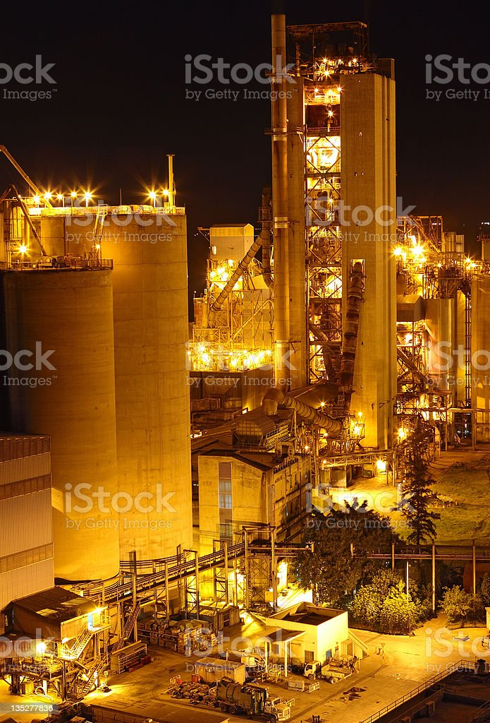 Cement Plant at night royalty-free stock photo