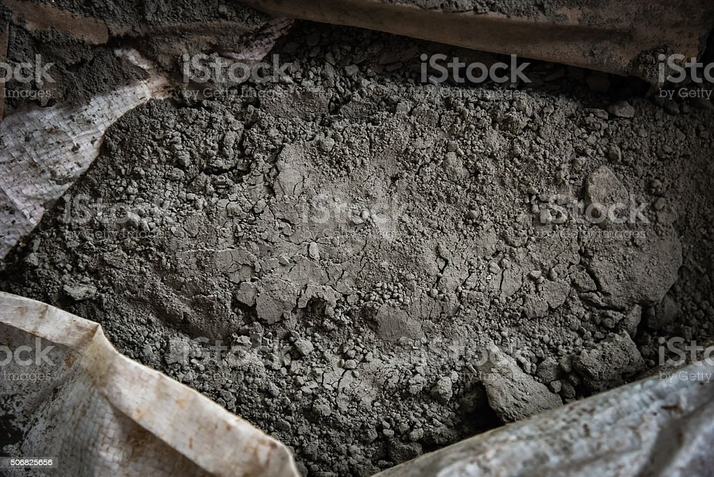 cement powder in bag texture stock photo