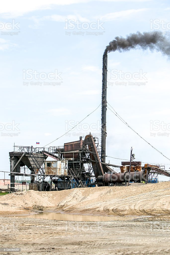 Cement production in quarry stock photo