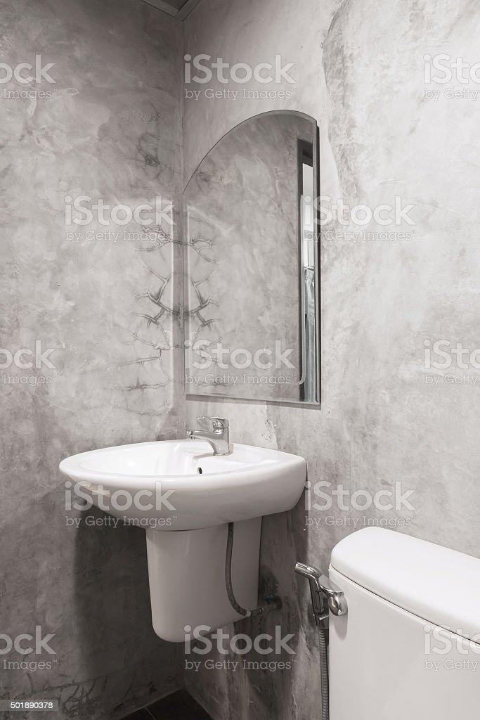 cement restroom stock photo