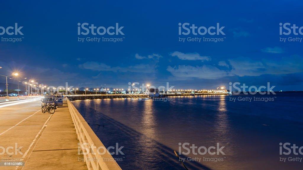 cement road in sea stock photo