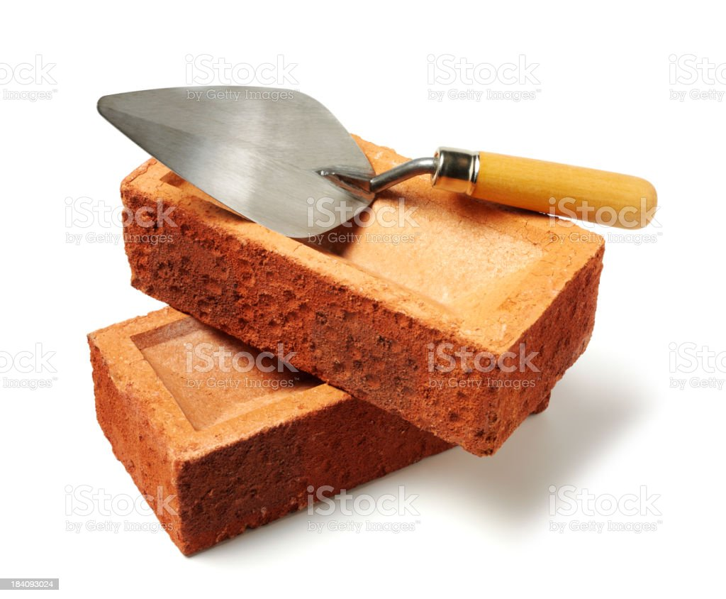 Cement Trowel and Bricks stock photo