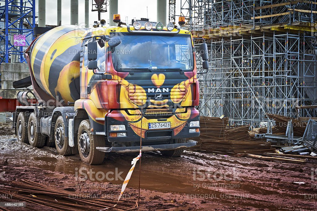 Cement Truck in construction site stock photo