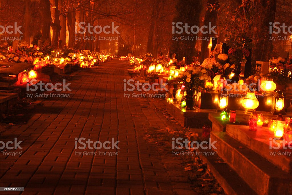 cementary by night stock photo