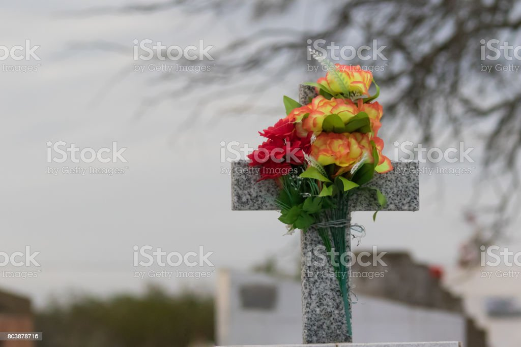 Cementery with flowers stock photo