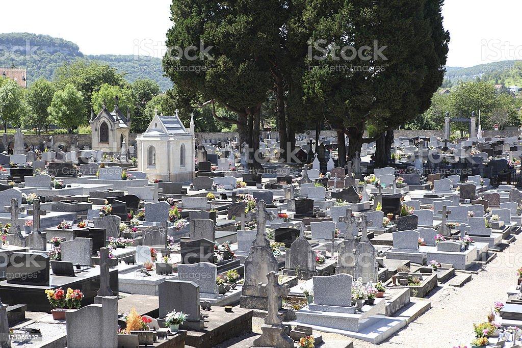 Cemetary and tombstones stock photo