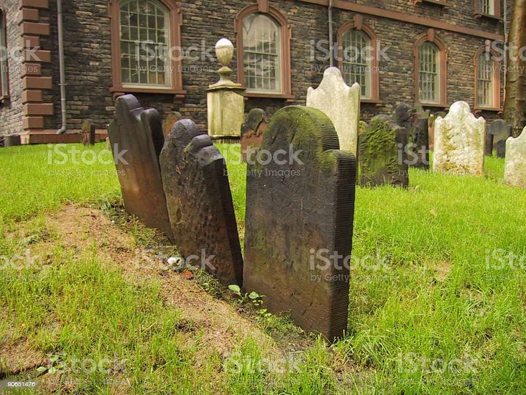 cemetary headstones - 3 in a row stock photo