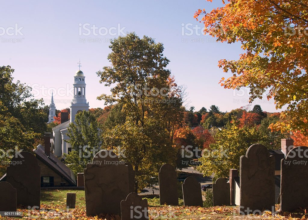 Cemetary hill in Concord, MA stock photo